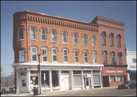 Horseheads Library's first home on the second floor of the Brown's pharmacy in Hanover Square. 1944-1949